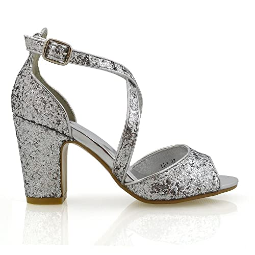 86e956d5a36819 Womens Strappy Sandals Block Mid Low Heel Sparkly Ladies Ankle Strap  Glitter Party Evening Bridal Shoes
