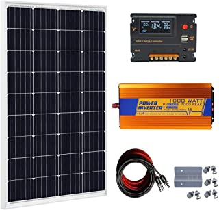 ECO-WORTHY 120 Watt Solar Panel kit: 12V 120W Solar Panels Kit + 20A Charge Controller + 1000W Power Inverter for Off-Grid 12 Volt Battery System