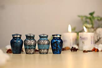5Elements Funeral Combination of Designer & Plain Blue Urns Cremation for Human Ashes Adult and Memorial Display Burial Ur...