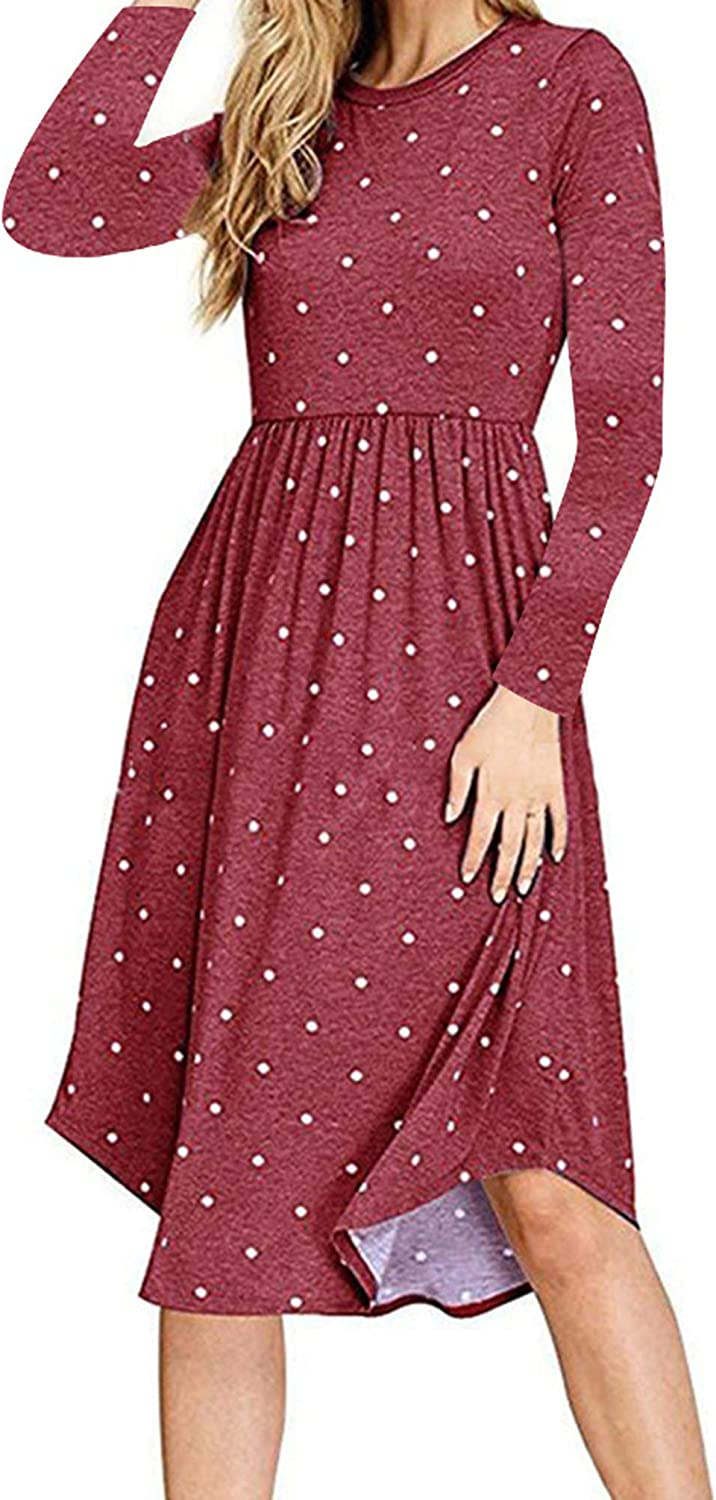 YUNDAI Women Clearance SALE! Limited time! Short Indefinitely Sleeve Polka Casual Dot Pleated Pockets Swing