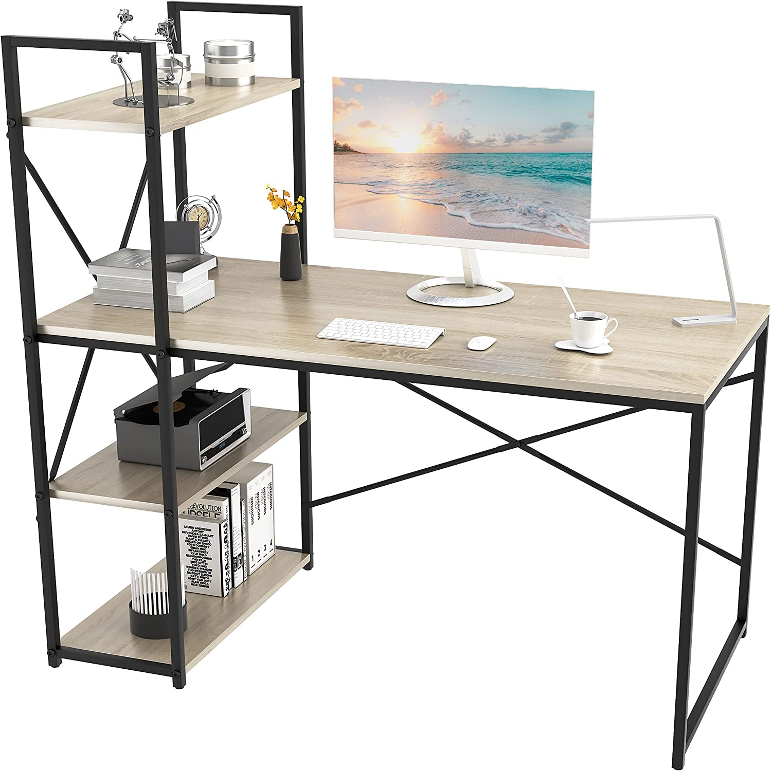 SMAGREHO Computer Desk with 4 Reversible 定番スタイル Tier 在庫あり Writing S Shelves