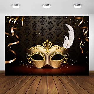 COMOPHOTO Masquerade Photography Backdrops Golden Mask Dark Retro Pattern Stage Photo Background for Birthday Party Banner Decoration