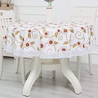 Round Vinyl Oilcloth Lace Tablecloth Waterproof PVC Wipeable Spillproof Peva Heavy Duty Vynl Plastic Tablecloth for Banquet Red+Gold Floral 60 Inch