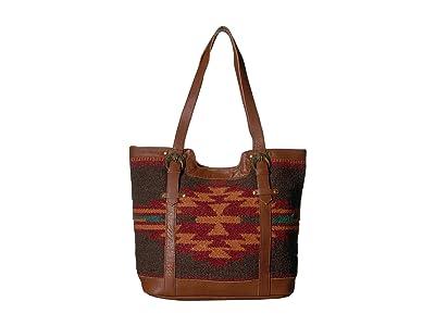Scully Aurora Woven Tote (Multi Brick/Black) Handbags