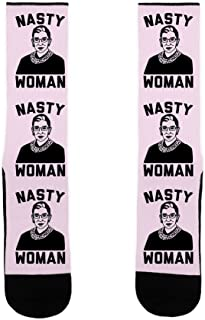 Nasty Woman RBG White US Size 7-13 Socks by LookHUMAN