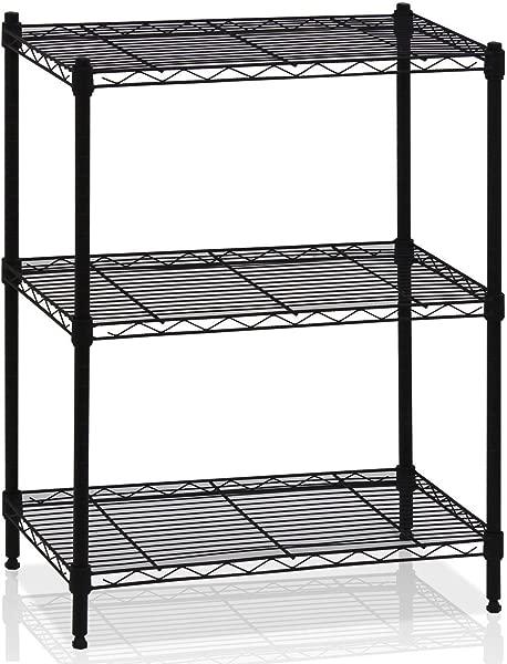 LordBee Microwave Oven Rack Shelving 3 Tier Storage Shelf Kichen Organizer Adjustable Black