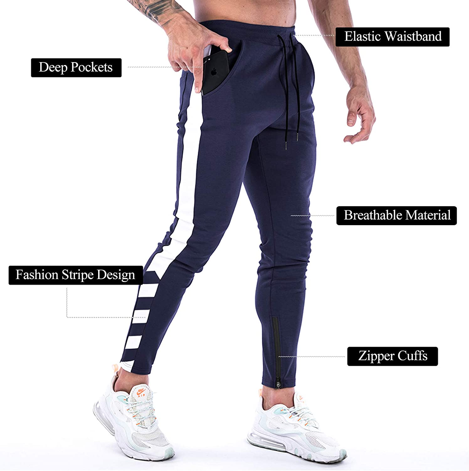 for Workout Running with Pockets A WATERWANG Mens Joggers Pants Athletic Sweatpants Track Pants Slim Fit