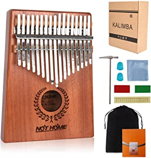 Kalimba Thumb Piano 17 Keys, Portable Mbira Wood Finger Piano with Tune Hammer and Study Instruction, Musical Instrument Gifts for Kids Adult Beginners.