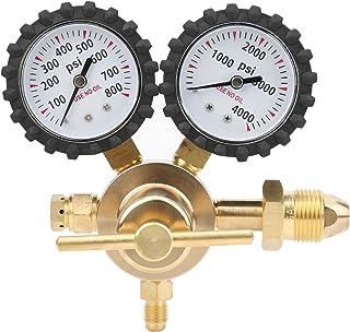منظم النيتروجين منظم ضغط هواء الغاز ذو المقياس المزدوج 0-800 رطل لكل بوصة مربعة ضغط مخرج مدخل نحاسي مقاييس توصيل مخرج (CGA...