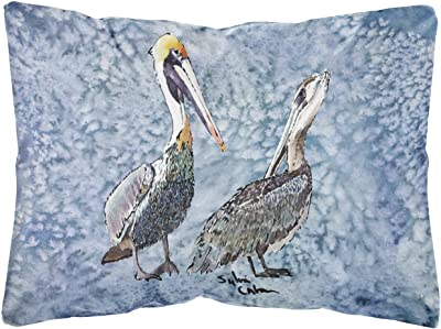 Amazon Com Caroline S Treasures Mw1232pw1216 Sitting Brown Pelican Fabric Decorative Pillow 12h X16w Multicolor Garden Outdoor