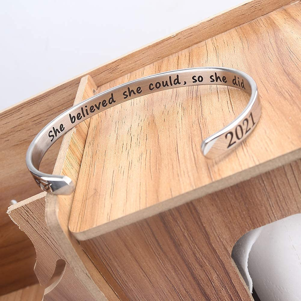 Inspirational Bracelets for Student She Believed She Could Cuff Bangle College Graduation Gift