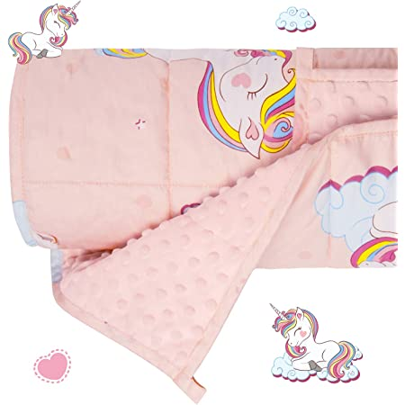 """Howell 7lb Girl Pink 36/""""x48/"""" NEW Kids Calming Unicorn Weighted Blanket by Bell"""