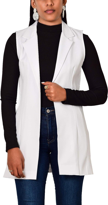 ARNALDO WOMENSWEAR Women's Solid Sleeveless Open Front Regular Fit Stretch Casual Strech Blazer Work All Day Vest
