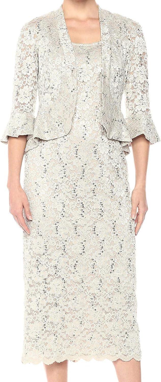 R&M Richards Women's Two Piece Lace Long Jacket Dress Missy