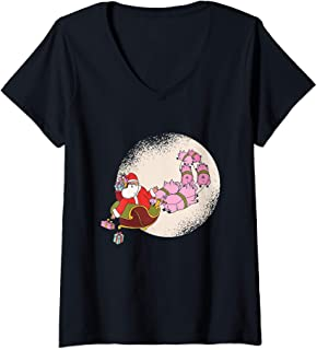 Womens Santa Sleigh Shirt with Flying Pigs and Christmas Presents V-Neck T-Shirt