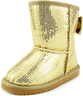 The Doll Maker Metallic Gold Sequins Snow Boot