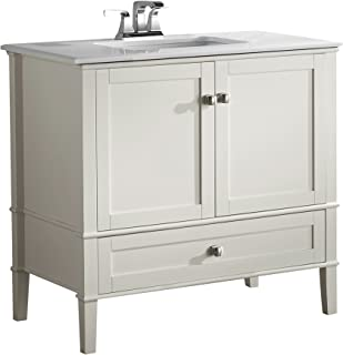 Simpli Home NL-HHV029-36-2A Chelsea 36 inch Contemporary Bath Vanity in Soft White with White Engineered Quartz Marble Top