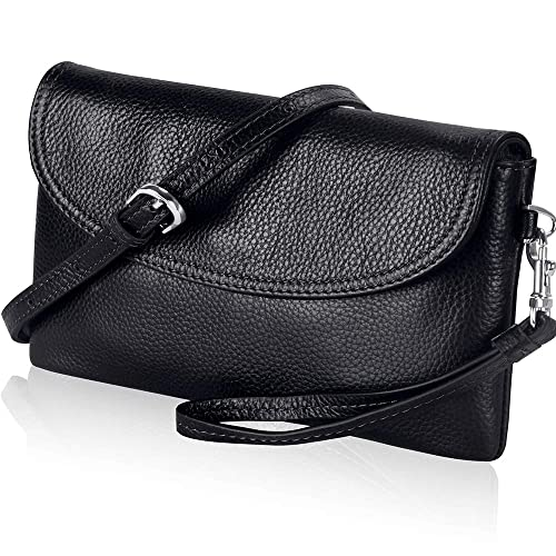440e504a9ca85 Befen Full Grain Leather Wristlet Clutch Wallet Cell Purse Phone Crossbody  Bag with Shoulder Strap/