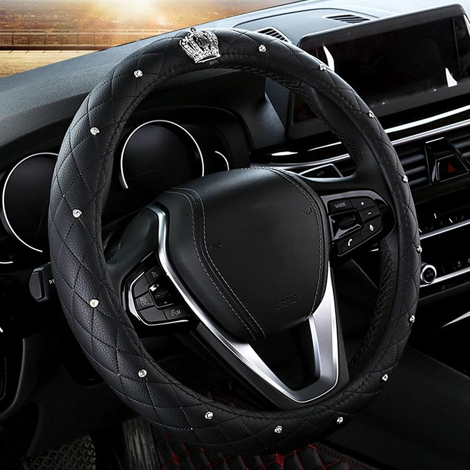Auto Accessories 2018 Car Steering Wheel Predector, Woman Dedicated Cover Universal 141 2151 8 inch (3738.5 cm), Durable, Breathable, Anti Slip, No Smell, Black, 38cm