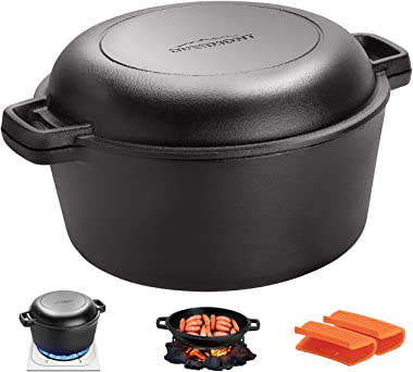 Overmont Dutch Oven 5 QT Cast Iron Casserole Pot + 1.6 QT Skillet Lid Pre Seasoned with Handle Covers & Stand for Camping Hom