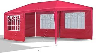 JOM Gartenpavillon 3 x 6 m, mit 6 Seitenwänden 110G PE, rot
