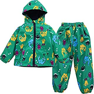 Boys Raincoat Jacket Dinosaur Coat Waterproof Hooded +Pants Suit For Baby