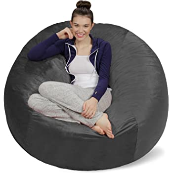 Sofa Sack - Plush Ultra Soft Bean Bags Chairs for Kids, Teens, Adults - Memory Foam Beanless Bag Chair with Microsuede Cover - Foam Filled Furniture for Dorm Room - Charcoal 5'