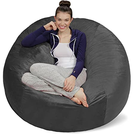 Sofa Sack Plush, Ultra Soft Memory Bean Bag Chair with Microsuede Cover Stuffed Foam Filled Furniture and Accessories for Dorm Room, 5-Feet, Charcoal