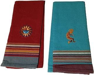 Simply Southwest Kitchen Towel Set, Sun Embroidered Tea Towel & Kokopelli Embroidered Tea Towel