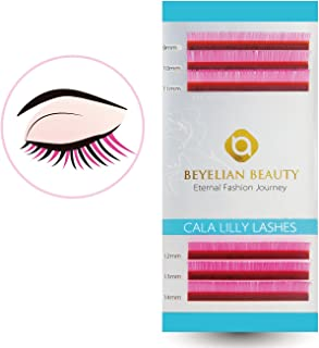 BEYELIAN Cala Lilly Lashes H-Pink Color Macaron Lashes 0.07mm Thickness C Curl Mix Length Colored Individual Eyelash Extensions XD Volume Lashing
