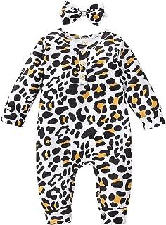 HUBA Neugeborenes Baby Strampler Overall Herz Leopard Drucken Einteiliger Jumpsuit  Stirnband Outfits Set Anzug Winter wärmer Schneeanzug für Jungen Mädchen0-24 Monate