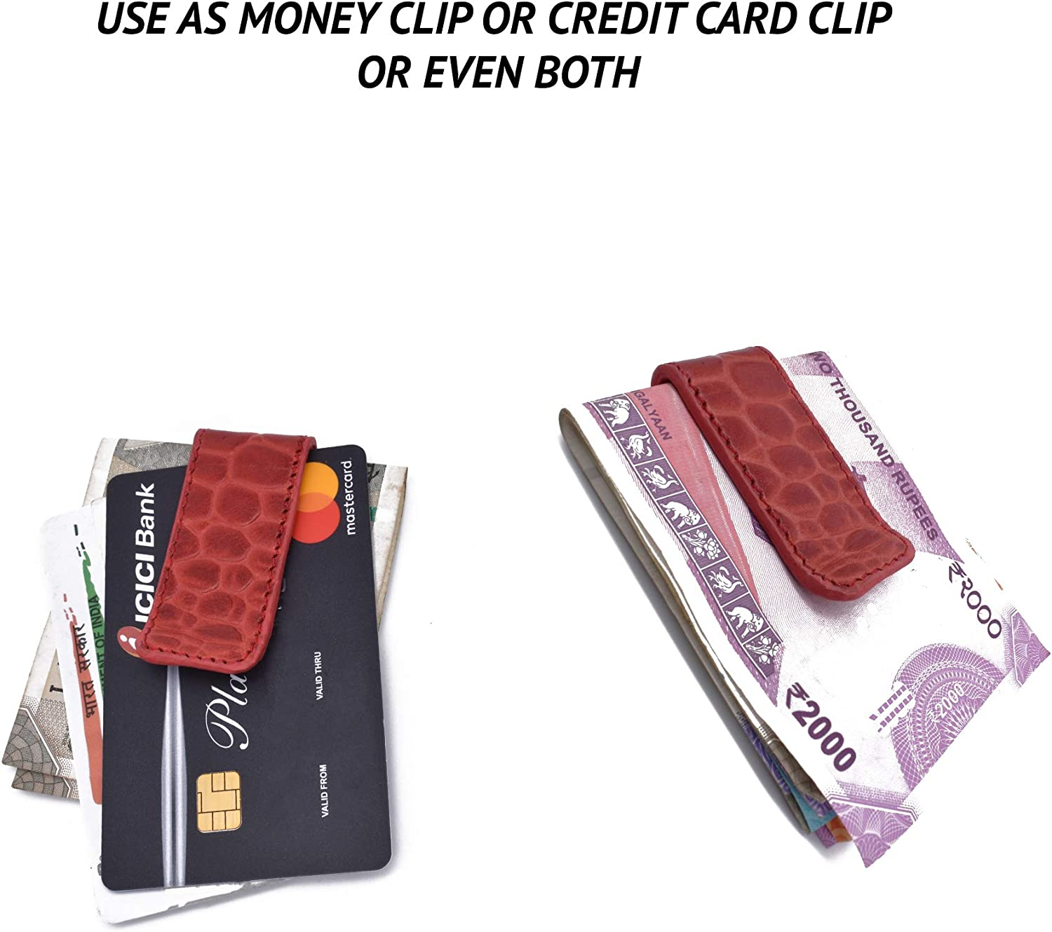 Adamis Minimalist Leather Money Clip Wallet for Credit, Business And Other Cards Soft Compact Holder for Men Slim Design Front Pocket Strong And Modern Look Multipurpose Card Clip, 7 cm