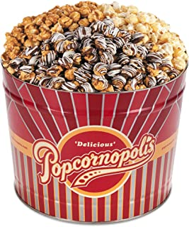 Popcornopolis Gourmet Popcorn 2 Gallon Tin - Premium Including Caramel, Zebra and Kettle Corn
