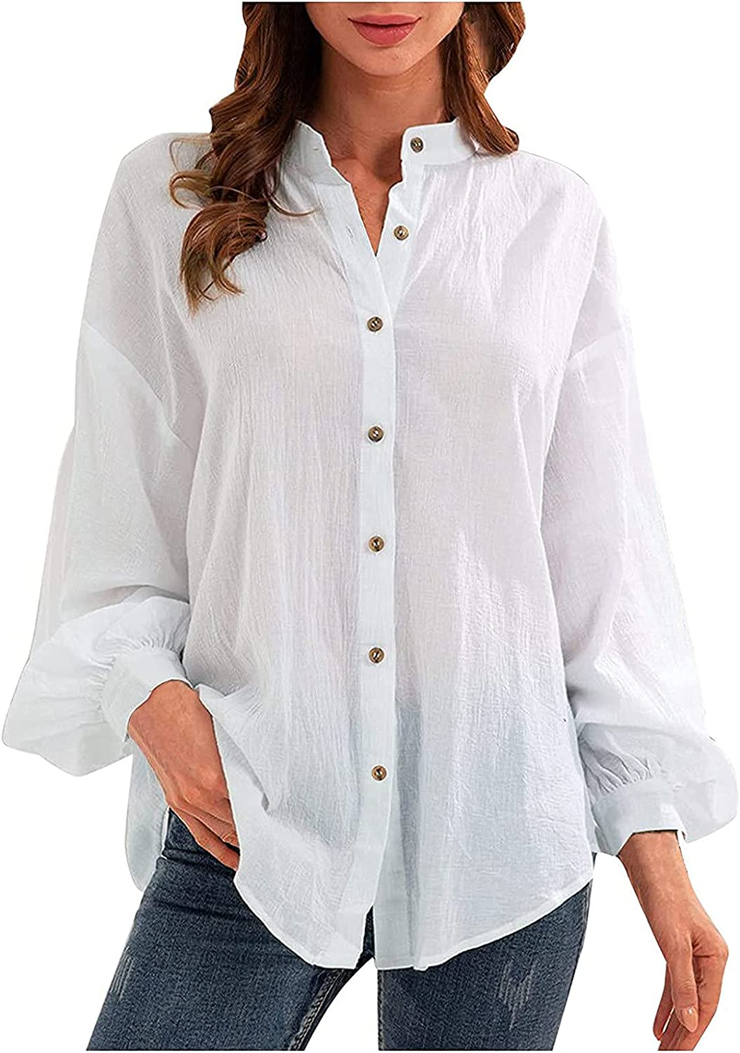 SHOPESSA Women's Blouses Button-Down Shirts Comfy Linen Loose Tee Shirts Solid Color Mock Neck Business Casual Shirts