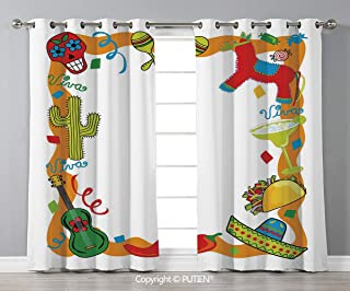 Grommet Blackout Window Curtains Drapes [ Fiesta,Cartoon Drawing Style Mexican Pinata Taco Chili Pepper Sugar Skull Pattern Guitar,Multicolor ] for Living Room Bedroom Dorm Room Classroom Kitchen Cafe