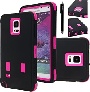 E LV Case for Galaxy Note 4 - Full Body Hybrid Armor Protection Case Cover for Samsung Galaxy Note 4 - Black/HOT Pink
