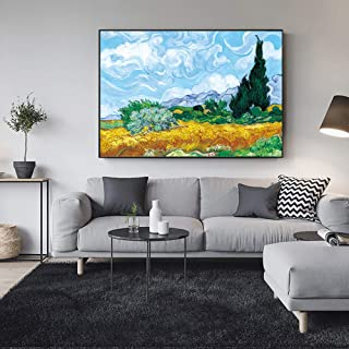 ZYWGG Lienzo Impresión Image Cuadro Van Gogh Cypress In The Wheat Fieldpaintings Pinturas Impresionistas Famosas Cuadros De Pared Decoración para El Hogar