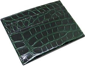 product image for Card Holder Wallet in Green Genuine Alligator minimalist slim front pocket design