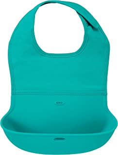OXO Tot Waterproof Silicone Roll Up Bib with Comfort-Fit Fabric Neck, Teal