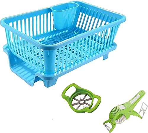 Pramukh Fashion 3 in 1 Durable Plastic Kitchen Sink Dish Drying Drainer Rack Holder Basket Organizer with Tray Utensils Tools Cutlery Rendom Color with VeJ Cutter N Apple Cutter