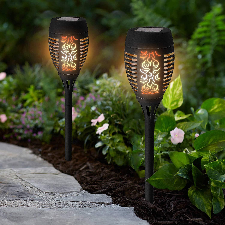 4 Pack Outdoor 12 LED Solar Torch Flickering Flame Light Garden Waterproof Lamps