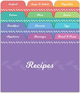 Jot & Mark Recipe Card Dividers | 24 Tabs per Set, Works With 4x6 Inch Cards, Helps Organize Recipe Box (Rainbow)