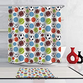 2 Piece Shower Curtain Set Bath Mat Set Print with 12 Hooks SHOWER CURTAIN Set for