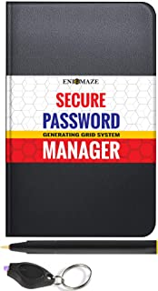 Enigmaze Secure Travel Password Manager Book with Alphabetical Tabs