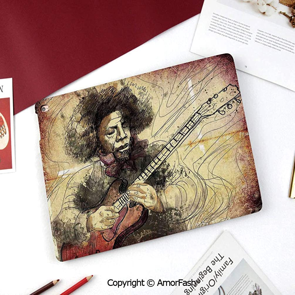 Jazz Music Samsung Galaxy Tab A 8.0 Case (2015 Old Model) - Standing Cover Folio Case,Guitar Virtuoso Hand Drawn Style Illustration of a Guitar Player Musician