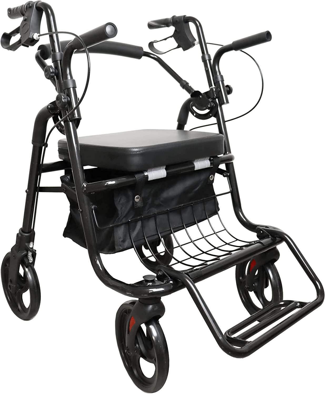 KMINA - Andador Silla de Ruedas (2 en 1), Andador para Ancianos, Andadores con Asiento para Ancianos, Andadores Adultos Aluminio, Andador Ancianos Altura Regulable, Color negro.