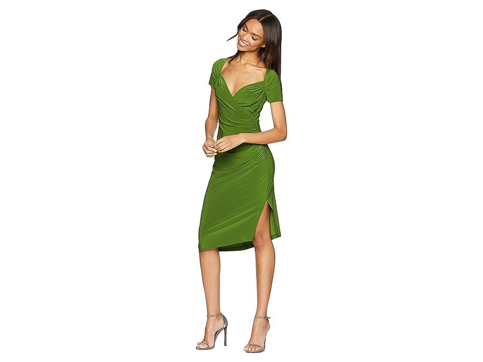 KAMALIKULTURE by Norma Kamali Sweetheart Side Drape Dress (Olive) Women
