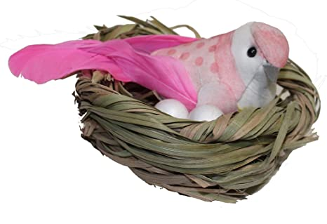 24pcs Lifelike Small Birds Figurines Birds Model Garden Decoration Pink//White