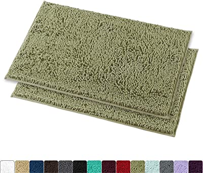 MAYSHINE Chenille Bathroom Rugs Extra Soft and Absorbent Shaggy Bath Mats Machine Wash/Dry, Perfect Plush Carpet Mat for Kitchen Tub, Shower, and Doormats (2 Pack - 20x32 inches, Sage Green)