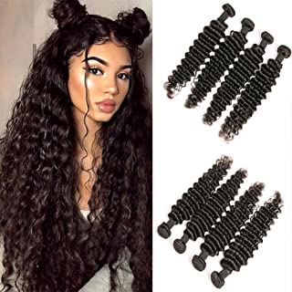 Deep Wave Bundles 16 18 20 22 Inch Unprocessed Wet And Wavy Human Hair Weave Bundles Sew In Extensions For Black Women Grade 10A Double Weft Peruvian